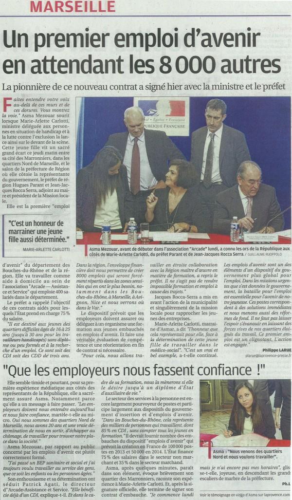Premier contrat d'emploi Avenir signé du Département
