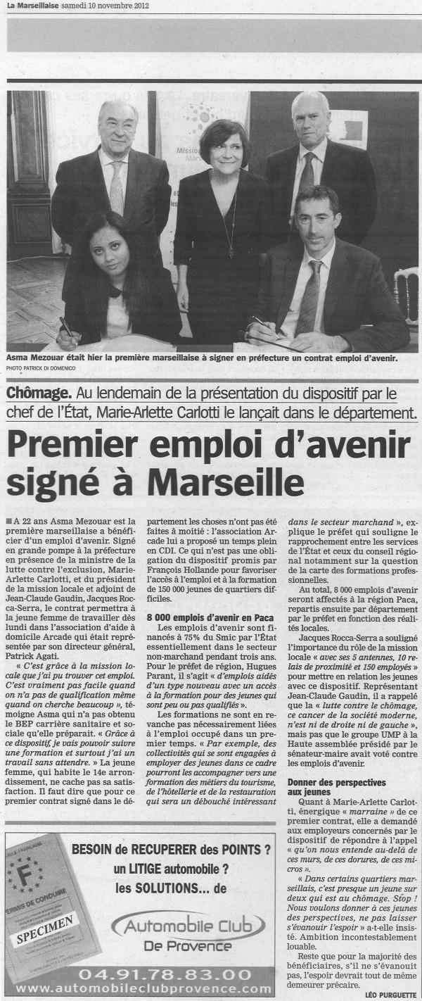 ARCADE signe le premier contrat d'Emploi d'Avenir du Département 13 en 2012