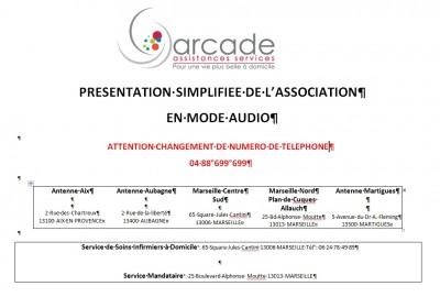 Aide à la personne : Livret d'accueil en mode audio de l'association ARCADE ASSISTANCES SERVICES